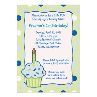 15 best cupcake invitations 1st birthday images on pinterest sprinkle cupcake 5x7 boy 1st birthday invitation stopboris Choice Image