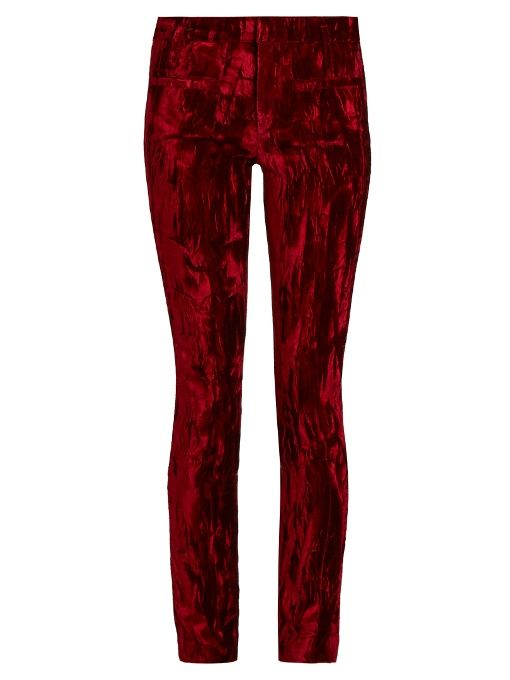 Haider Ackermann Madame skinny-leg velvet and leather trousers
