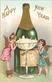 A Happy New Year, old postcard with champagne and little fairies!