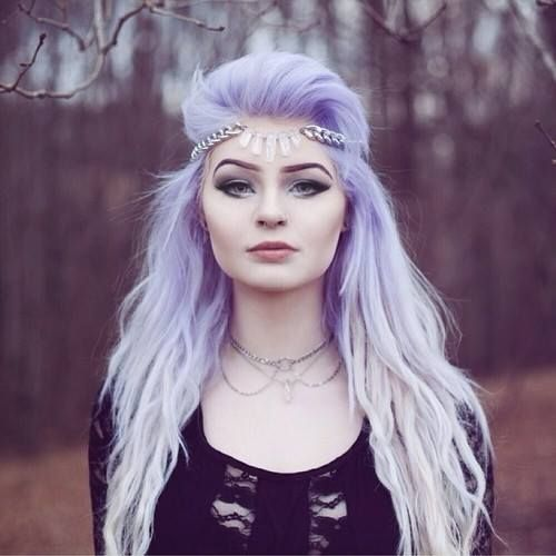 pastel purple coloured hair white ombre dip dye bleached ends fades