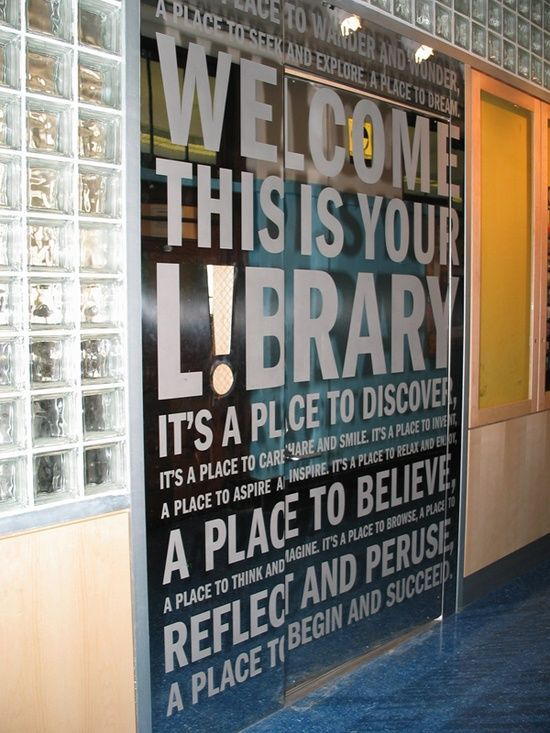 The words on this doorway convey a message the Grant Library staff feels reflect their mission statement of a place that invites students to pause and ponder.                                                                                                                                                      More