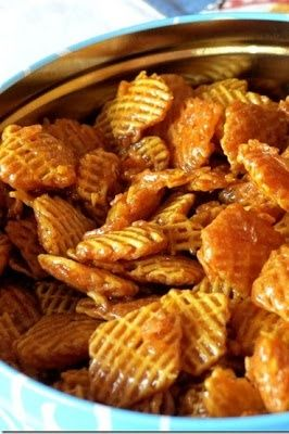 Caramel Crispix. Made half recipe with corn chex, microwaved In a glass bowl. Yummy and easy! Would be good with nuts mixed in