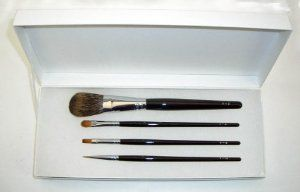 Ai (Love) * Japanese Natural Hair Professional makeup 4 pcs brush set - Black handles - by Ai (Love) Brush * KUMANO FUDE. $218.00. Detailed makeup set for Eye and lip. Black (glossy) long handle. recommended by New York based professional makeup artists: http://bit.ly/if3H90. handcrafted in Kumano, Hiroshima since 1869. Set contains: * Y-2 Cheek Brush (Pine Squirrel hair) * Y-5 Eye Shadow Brush (Kolinsky hair) * Y-6 Lip Brush  (Weasel hair) * Y-10 Eye Liner (Kolinsky hair)