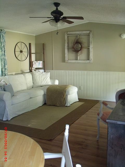 Wainscoating below chair rail - good idea for family/living room that has chair  rail already and painted paneling below - maybe just paint the pane… - Wainscoating Below Chair Rail - Good Idea For Family/living Room