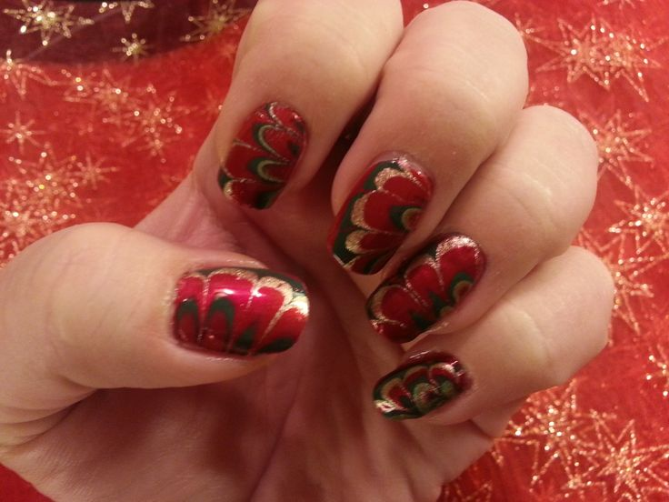 Water Marble Technique - Christmas
