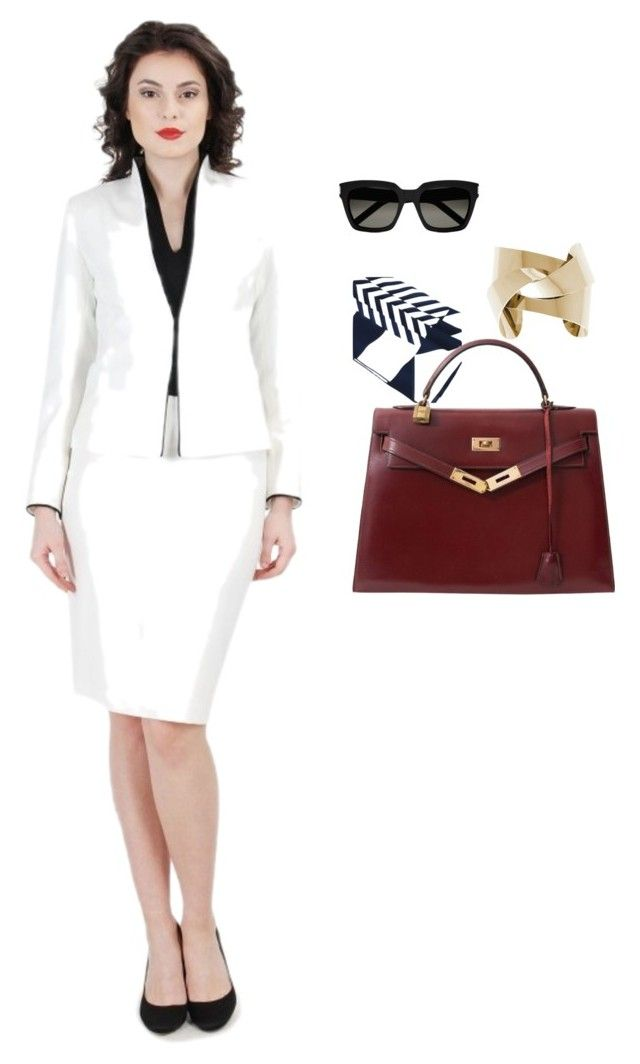 YOKKO Office Outfit by yokko-the-fashion-store on Polyvore featuring Hermès and Yves Saint Laurent.  #yokkoromania #spring2016 #fashion #ss16 #madeinromania #officeoutfit #feminity #office #suit #white