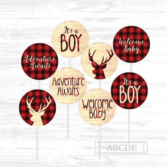 Lumberjack Birthday Rustic Topper Lumberjack Shower 12 Lumberjack Cupcake Toppers Red Plaid Toppers Woodland Birthday Wildlife Toppers