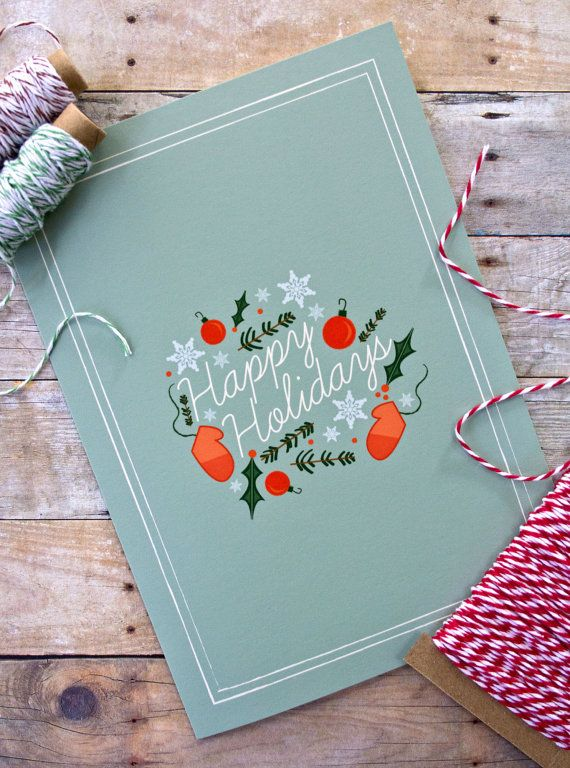 Happy Holidays Illustrated Greeting Card by ktcrawford on Etsy.