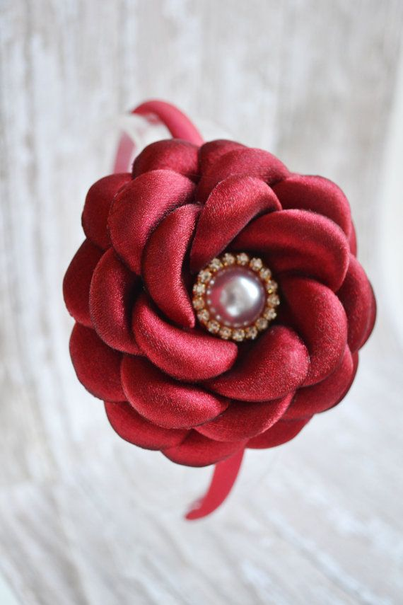 Red Flower Headband Satin Flower Headband by LilMajestyBoutique