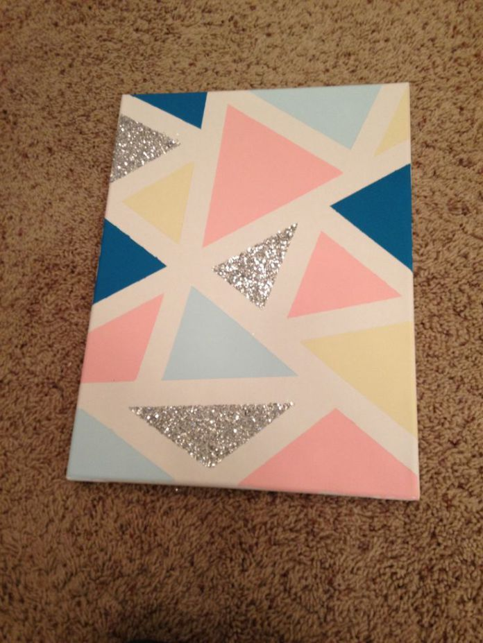 Trends Handmade Board Ideas : DIY canvas 1. Tape geometric shapes with painter's tape 2. Paint inside them