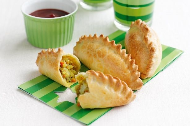 Vegetable pasties NB:  You don't need egg to seal the pastry - just use vegan pastry and brush with soya milk / water.