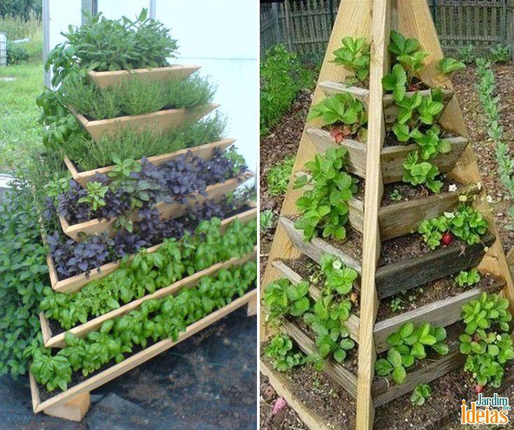 Duas ideias que você pode levar para seu jardim! Estes modelos de jardins verticais são ótimos para você cultivar verduras e legumes, e até mesmo flores! A nossa dica é deixar as espécies que necessitam de mais água em baixo e as que precisam de solos mais drenados na parte superior. Que tal?