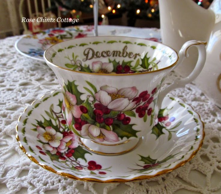 Rose Chintz Cottage: 2nd Christmas Tea in December, using this Royal Albert Christmas Rose teacup