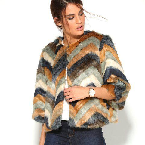 Manteau fourrure multicolore manches 3/4 femme - 3Suisses