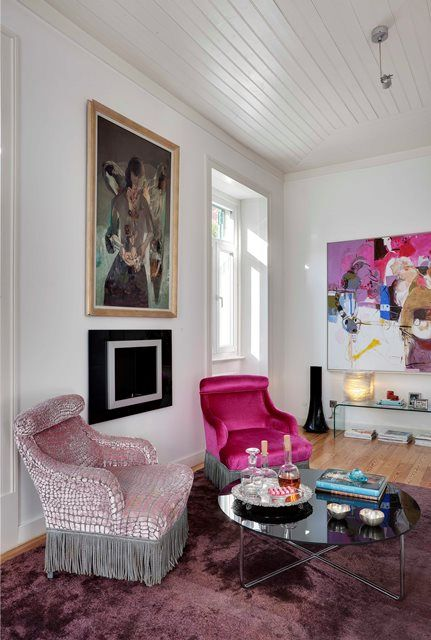 Pink fabric on antique chairs, so modern! Fusion Interior Design