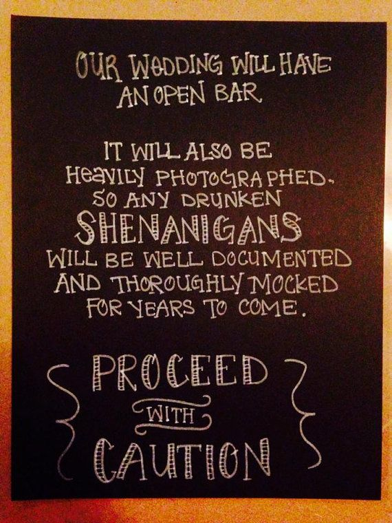 Funny Open Bar Wedding Chalkboard