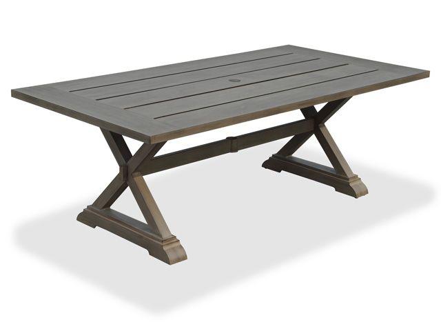 La Jolla 84 X 42 Rectangular Aluminum Slat Top Pedestal Table