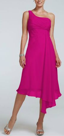 David's Bridal Short One Shoulder Crinkle Chiffon Bridesmaid Dress Style F15608 (shown in Begonia)