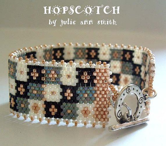 Julie Ann Smith Designs HOPSCOTCH Bracelet Odd Count Peyote Beadweaving Pattern