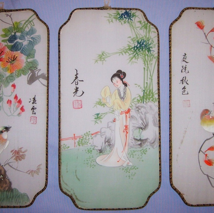 Six Vintage Japanese Silk Screen Panels Hand Painted