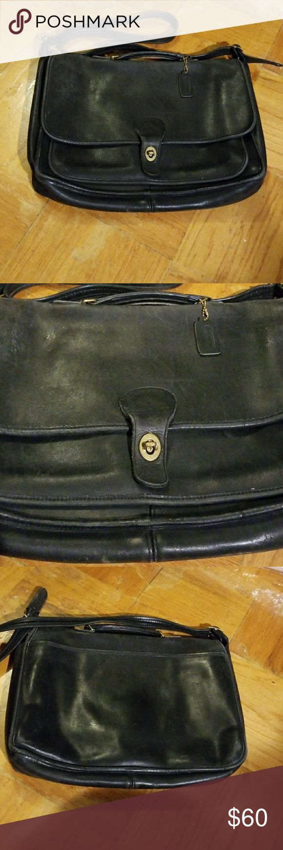Briefcase Classic black Coach briefcase, recently loved with plenty of Love left to give,  shows a bit wear but looks good for its age Coach Bags