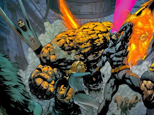 X-men/Fantastic FourPat Lee (Pencils) Akira Yoshida (Story)Nick Kilislian (Layouts) Edwin Garcia (Backgrounds)Rob Armstrong (Inks) Alan Wang & Ramil Sunga (Colors)