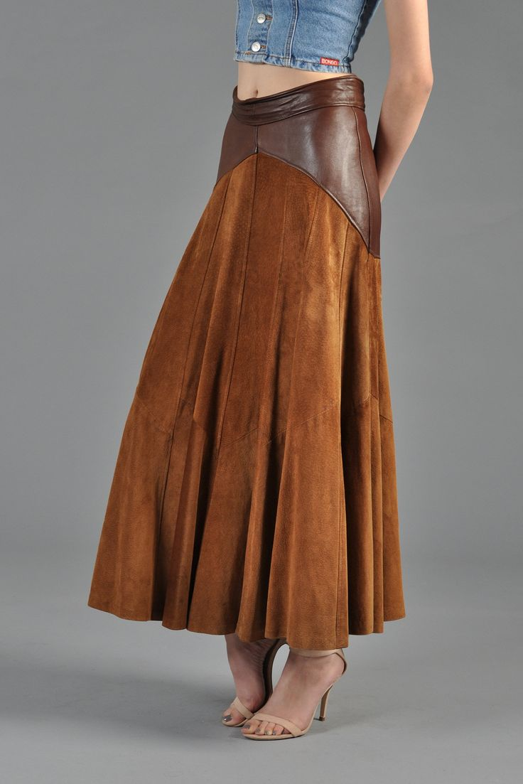 2-Tone Suede + Leather 1980s Maxi Skirt | BUSTOWN MODERN