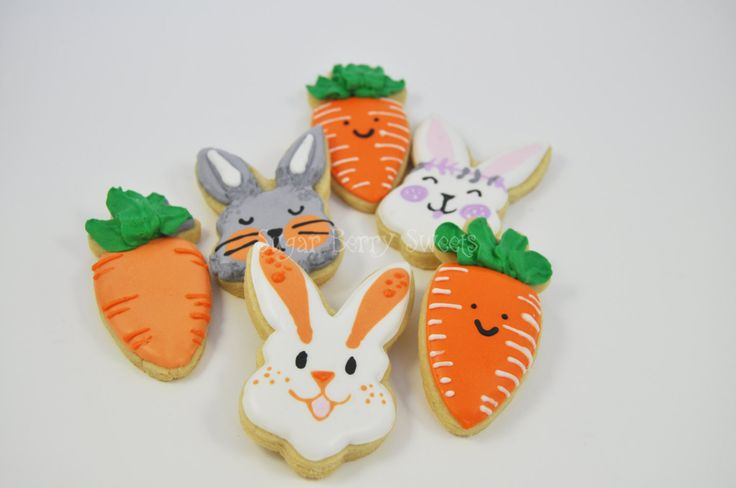 1/2 Dozen Cute Carrot and Easter Bunny Decorated Iced Sugar Cookies - Easter - holiday - Spring - fun - carrots - Colorful - gift - sweet