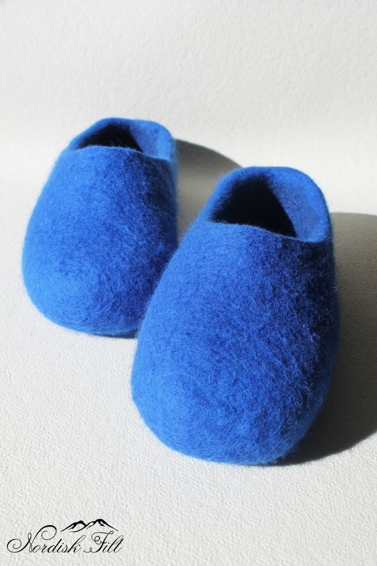 Felted wool slippers-Man home shoes-blue dream by NordiskFilt on Etsy