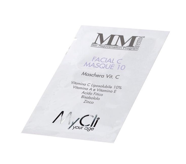 FACIAL C MASQUE 10 (10 bust. 6 ml)  Prezzo consigliato: € 62  FACIAL C MASQUE 10.  Anti-ossidante e anti-stress per tutti i tipi di pelle, da usare una o più volte a settimana. Dona sollievo e benessere e ristabilisce luminosità e uniforma la pigmentazione. Riduce le micro-rughe superficiali.  PRINCIPI ATTIVI:  Vitamina C estere palmitico 10%, vitamine A - E, acido fitico 2%, bisabololo, zinco.  Maggiori info a community@mycli.com  e su Facebook > http://www.facebook.com/MyCli