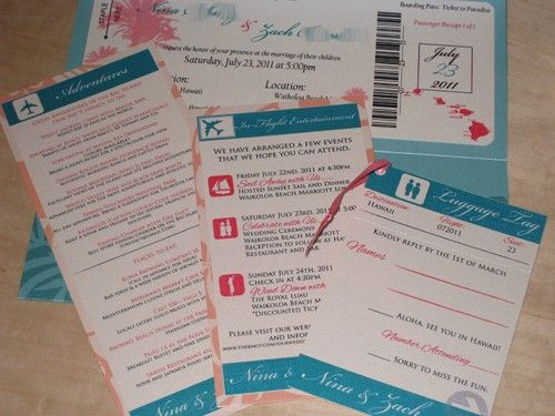 Nina and Zach Hawaiian Inspired Invitation Package. $40.00, via Etsy. | Shelly's wedding ...
