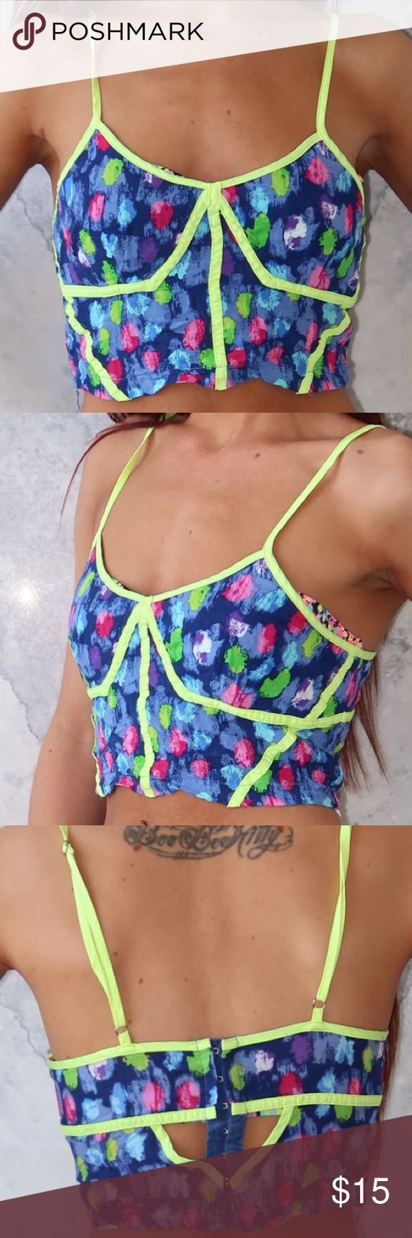 Neon Speckled Spaghetti Strap Crop Top PRE LOVED lightweight neon multi coloured speckled crop top with adjustable spaghetti straps and peep holes on the back with eyelet closures. In great condition Tops Crop Tops
