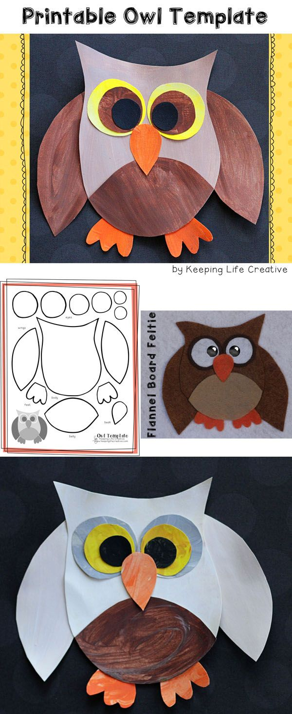 Printable Owl template for a fun fall (or anytime!) craft for kids. Also makes a cute flannel board feltie pattern.