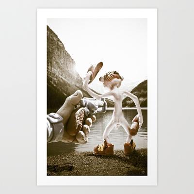 Naked Cowboy (retro color) Art Print by Martin Misik - $15.00 // #print #art #sculpting #clay #cowboy #naked #gun #revolver #gun #society6 #lake #alcohol #bottle #fun #humor #landscape #handmade #sculpey #vintage #retro