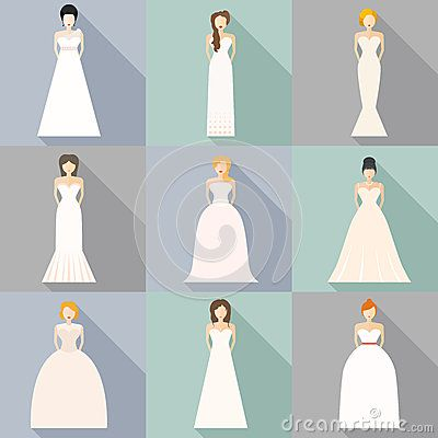 Brides In Different Styles Of Wedding Dresses Made Modern Flat Vector Style Choose Your Perfect W Stock