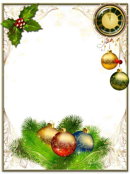 Christmas Photo Frame with Christmas Balls and Clock