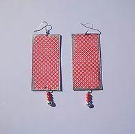 collezione Terre D'Oriente-Red kimono- orecchini in carta washi su legno