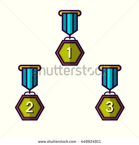 Medallion award First, second and third winner flat design icon with long shadow. Vector illustration.