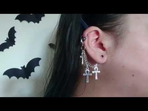 Helix Ankh Ear Chain Tutorial October.Halloween diy