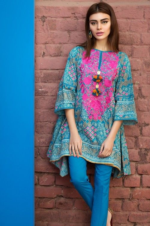 Khaadi 2 Piece Stitched Embroidered Lawn Suit - Blue  #khaadi2017