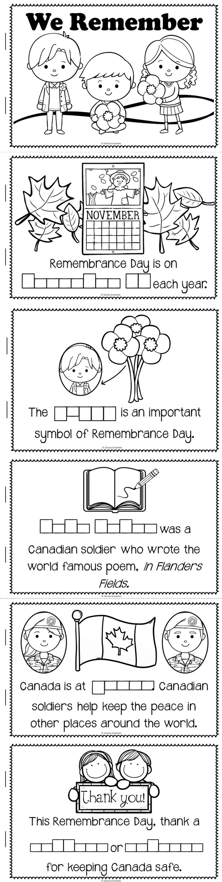 This mini-book is included in my Remembrance Day Canada unit! Made especially for Grade One or Two teachers.