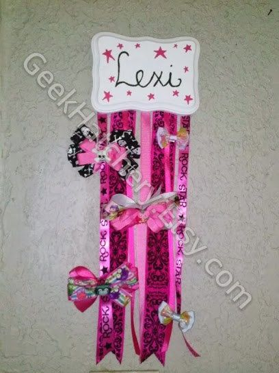 Hair Bow Holder in a Rock Star Princess Style with Free Personalization