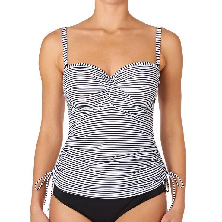 Women's Panache Bikinis - Panache Anya Stripe Bandeau Tankini Top - Black White
