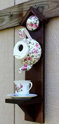 Can't wait to see what builds in my teapot birdhouse this year. | Rain Mace Fought-?Nature Addicts (Niche Pour)