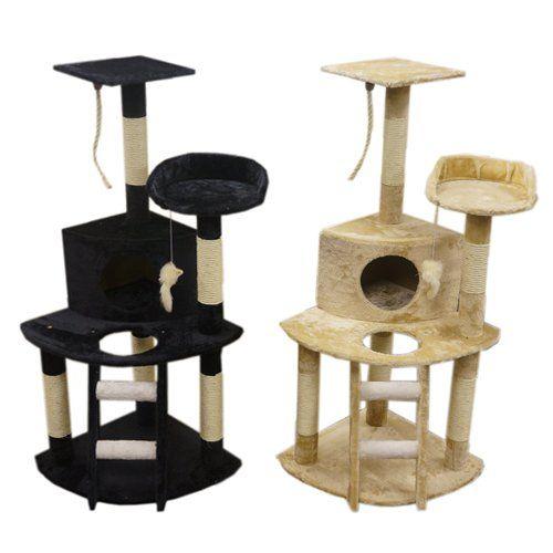 Árbol para gatos 120 cm – colores negro y beige