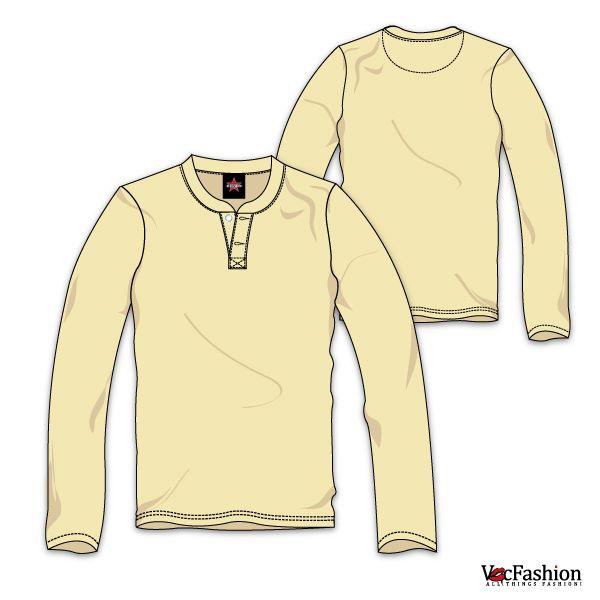 Men's Henley Neck Long Sleeve T-Shirt Vector Template