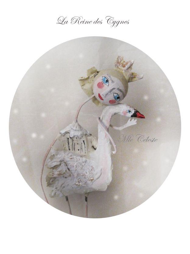 Mlle Céleste: La reine des cygnes, art doll ... papier maché