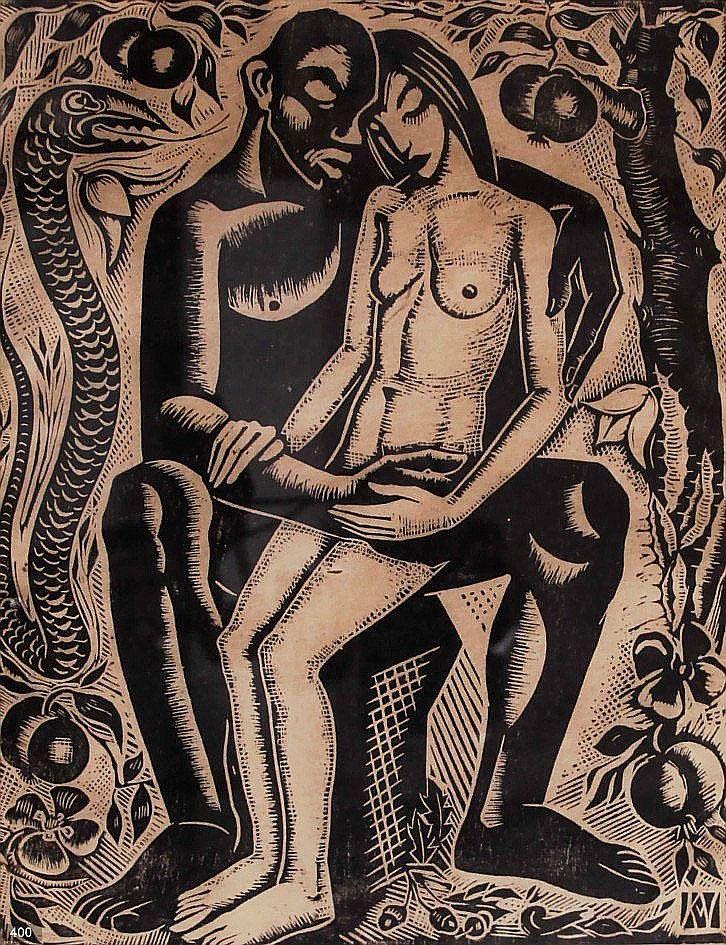 art-and-things-of-beauty:   Karel van Veen (Dutch, 1898-1988),Adam and Eve, woodcut, 27,5 x 22cm.
