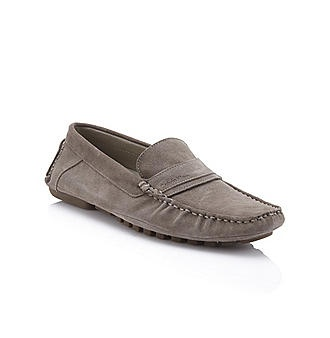 Grey Suede Driving Moc - Calvin Klein  I just bought this shoe and have many similarly styled. These are great for casual Fridays! I've also worn this style with slim fit dress pants. (carsons.com & calvinklein.com)