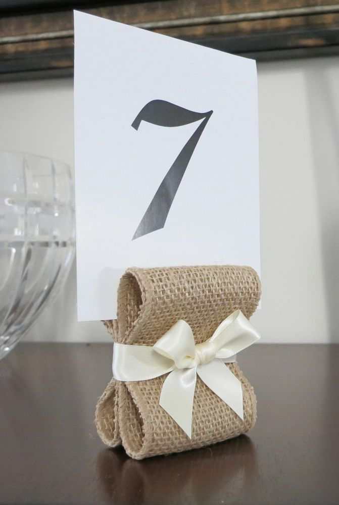 10 Burlap & Ivory Rustic Wedding Decor Table Number /Menu Card Holders or Stands